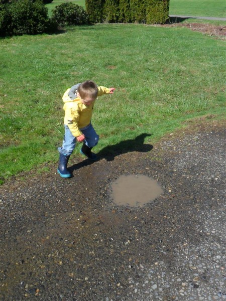 Puddles exponentially increase the amount of time Jordan is happy.