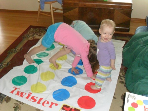 Twister is extra hard when Carolyn plays!