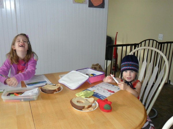 Always nice when there are smiles during school!  And pbj on your pages. :-)