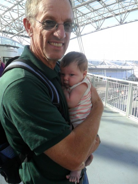 Dad holding his youngest grandchild for the first time.  (Melissa's little Noralie)