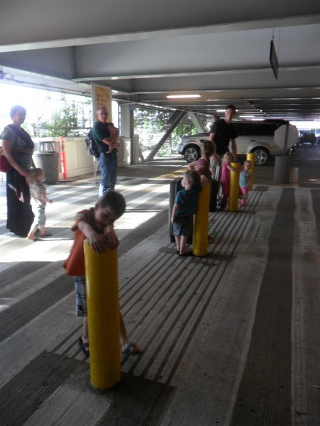 The welcoming committee!  Eight little people, all obediently not running into traffic.