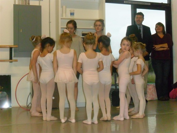 Praying before ballet class!  (Maggie's class is not usually this large)
