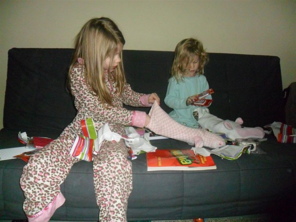 Watching the kids look at their stocking gifts was so much fun this year. They were all so into it!