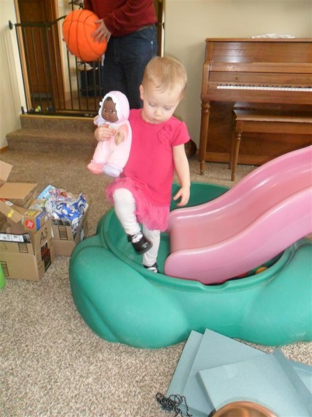 Carolyn loves her new dolly from her Papa!