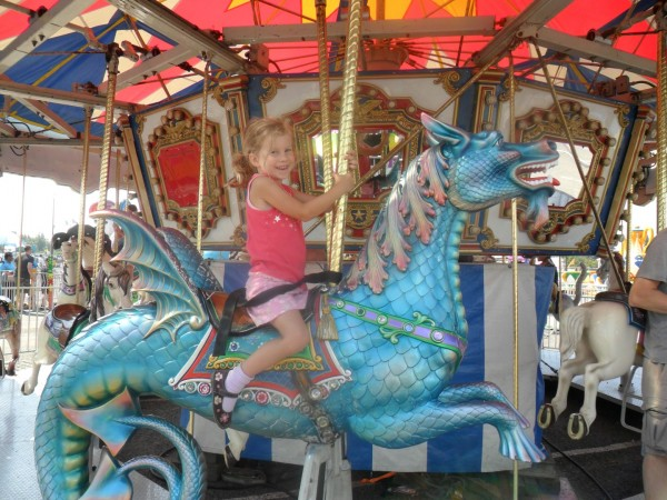 Maggie chose the horse dragon to ride. :-):-)