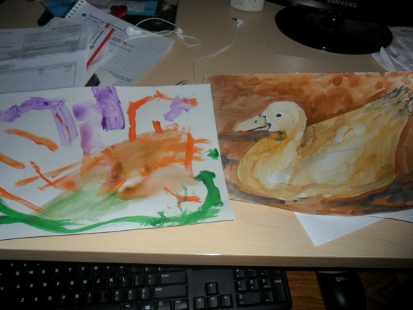 A picture of some of the Art Break work by Carolyn and me.