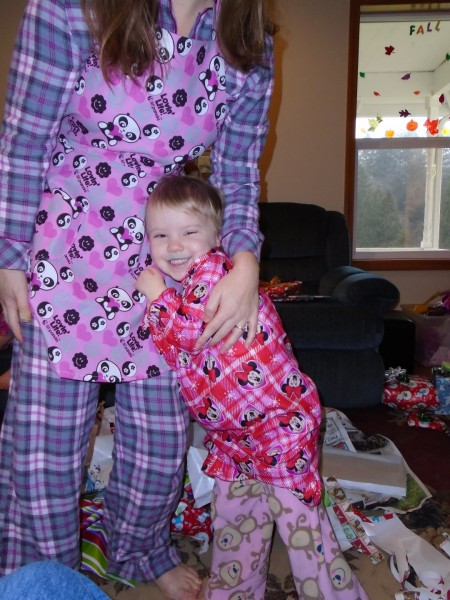 Carolyn in her new pjs... they are adorable and she wears them all the time.