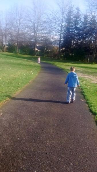 Walking the loop with Jordan.