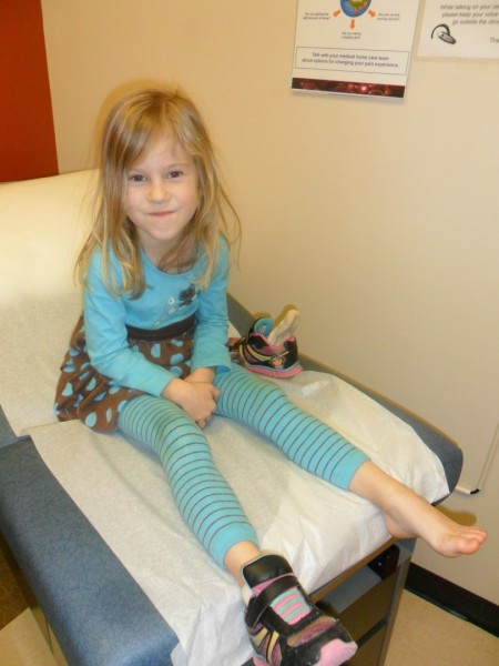 The bunk bed box fell on Maggie's foot and she limped, so we took her in for an x-ray to make sure it wasn't broken.