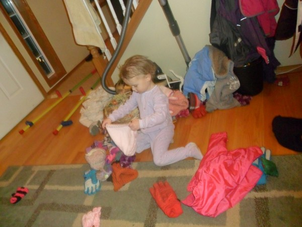 At any given time, this is what our hallway looks like. (Where the coats, hats and gloves and such are stored.)