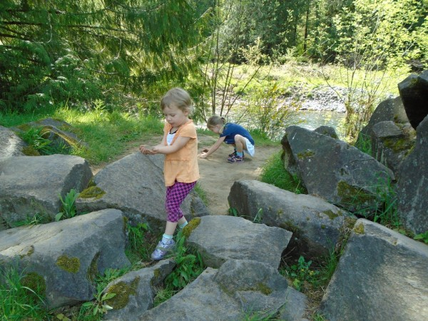 I consider this my most successful day in the entire year of homeschooling. There were no books. We went to the park, went on a 3-mile hike and practiced good attitudes, kind behavior, learned about how rocks turn smoother in the water, identified plants and generally had a good day.
