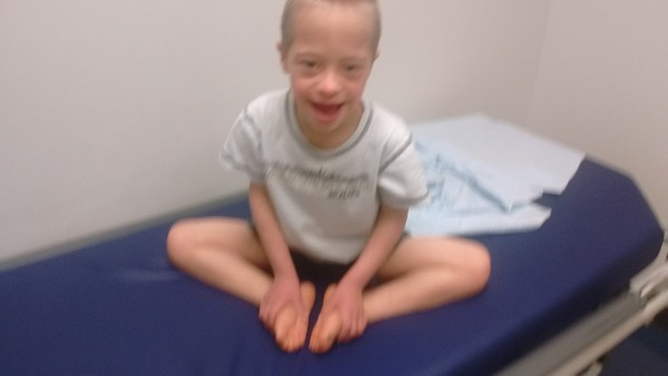 Jordan at the Shriner's Orthopedist where we learned he has hip displaysia. MRI is this Thursday.