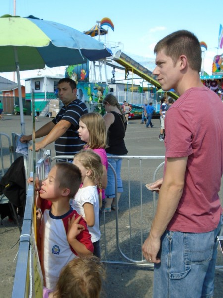 Jordan was pretty curious about the spinning carousel.