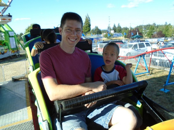 Jordan was NOT a fan of the little roller coaster that had a sharp, jerky turn.