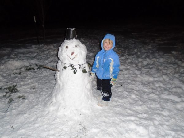 One night, Brian applied the necessary energy to make the powdered snow into a snowman. It was just a little warmer this night and it worked! Until the dogs ate the nose and chewed off his arms, poor fella.